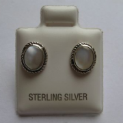 Sterling Silver Oval Mother of pearl Stud Earrings